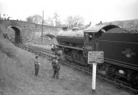 Class K1 2-6-0 no 62005 is in the process of running round the SLS <I>Three Dales Railtour</I> at Westgate-in-Weardale on 20 May 1967.<br><br>[Robin Barbour Collection (Courtesy Bruce McCartney)&nbsp;20/05/1967]