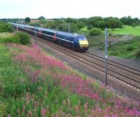 A southbound ECML service passing Dudley, some 7 miles short of Newcastle Central, on 18 August 2010.<br><br>[Colin Alexander&nbsp;18/08/2010]