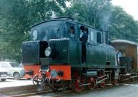 The Danish Mariager - Handest Veteranjernbane at the�Handest terminus in July 1987. A German-built 2-6-0T stands with a train for Mariager.<br><br>[Colin Miller&nbsp;/07/1987]