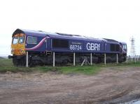 GBRf 66724 <I>Drax Power Station</I> stands at North Blyth on 16 August 2010. <br><br>[Colin Alexander&nbsp;16/08/2010]