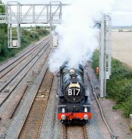 During the evening of Saturday 28 August 2010, no 6024 <I>King Edward 1</I> stops to take on water in the loops near the site of Challow station (closed 1964) between Didcot and Swindon. The ex-GWR 4-6-0 was  at the head of a Paddington - Bristol <I>'Bristolian'</I> special.<br><br>[Peter Todd&nbsp;28/08/2010]
