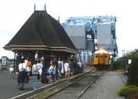 A Budd railcar draws into the modest Victoria (Vancouver Island) terminus of the Esquimalt & Nanaimo Railway in 1994. At the time the rudimentary passenger service was being operated by VIA Rail - headquartered 2,000 miles to the east - and marketing was at a very low ebb. There have been a number of changes in ownership and management of the railway in the intervening years, and it still survives.<br><br>[David Spaven&nbsp;//1994]