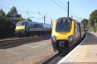 Competing East Coast IC225 and Arriva CrossCountry trains pass at Dunbar on 30 August.<br> <br><br>[Bill Roberton&nbsp;30/08/2010]