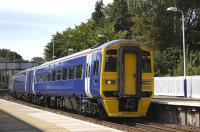 Intermediate-liveried 158782 departs Aberdour on 31 August.<br><br>[Bill Roberton&nbsp;31/08/2010]