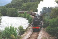 Black 5 no 45231 <I>Sherwood Forester</I> skirts Loch Dubh, west of Lochailort, with the <I>West Highlander</I> Railtour on 4 September 2010.<br><br>[John Gray&nbsp;04/09/2010]
