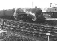 Standard class 5 4-6-0 no 73151 on arrival at Perth with a Dundee - Glasgow train in 1965.<br><br>[Jim Peebles&nbsp;//1965]