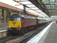 57601 ready to propel <I>The Royal Scotsman</I> out of platform 5 at Perth on 9 September. After reversing past St.Leonards Jn.the train will then take the Dundee line.<br><br>[Brian Forbes&nbsp;09/09/2010]