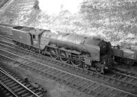 A1 Pacific no 60134 <I>Foxhunter</I> photographed at Kingmoor in the early sixties. The Leeds based locomotive was probably in the process of preparing to return home with a train via the S&C. 60134 was withdrawn from Neville Hill shed in October 1965.<br><br>[Robin Barbour Collection (Courtesy Bruce McCartney)&nbsp;//]