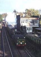 Ex-GNoSR 4-4-0 no 49 <I>Gordon Highlander</I> heads a westbound special past the island platform of Newington station on the Edinburgh 'sub' in the summer of 1964.<br><br>[Frank Spaven Collection (Courtesy David Spaven)&nbsp;//1964]