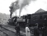 A historic day on the Keighley & Worth Valley Railway on 29 June 1968 as Ivatt 2-6-2T no 41241 + USA 0-6-0T no 72 take the inaugural train out of Keighley following the reopening ceremony.<br><br>[David Pesterfield&nbsp;29/06/1968]