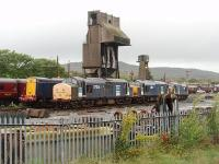 The stored DRS lcomotives at Carnforth seem to be moved around the yard quite a bit - presumably to keep things from seizing up. 37261, 37612 and 37605 are seen here from the station platform, in front of four stored Class 20s, with the depot coaling tower and ash plant behind. Will there be any RHTT work for these locos this autumn? Postscript: Later that same day four more DRS Class 20s (20309/10/11/12) arrived from Carlisle for storage in the yard here.<br><br>[Mark Bartlett&nbsp;14/09/2010]