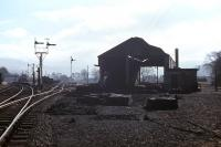 Memories of the Druimuachdar bankers were still fresh when this view of the remains of Blair Atholl steam shed was taken looking south on 23rd March 1963. [See image 16441] <br><br>[Frank Spaven Collection (Courtesy David Spaven)&nbsp;23/03/1963]