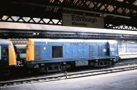 20 208 couples up to haul a failed DMU to Cardenden out of Edinburgh Waverley in August 1986.<br><br>[David Panton&nbsp;/08/1986]