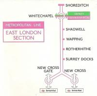 This is a scan of the right-hand end of a 5 foot long line diagram from A60 stock.  The diagram was current around 1985.  In those days the East London Line was deemed to be a 'section' of the Metropolitan and rendered in a hollow form of the Metropolitan's magenta.  The Circle Line was also operationally part of the Metropolitan, but it would be unthinkable to show it the same way as the East London.  <br><br>[David Panton&nbsp;26/09/2010]
