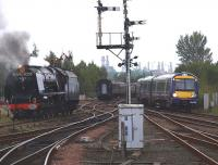 6233 gets the road from the siding at Stirling Middle box on 2 October 2010 to go south to Greenhill Upper in order to turn. The Pacific had arrived with the 1Z69 Stafford - Stirling <I>Royal Scot</I> special.<br><br>[Brian Forbes&nbsp;02/10/2010]
