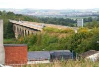 The impressive Newton Cap Viaduct, opened in 1857 to bring the North Eastern Railway route south from Durham over the River Wear into Bishop Auckland. The line and viaduct were closed in 1968. The structure has since been adapted to handle road traffic and now carries the A689. View north east towards Spennymoor in September 2010.<br><br>[John Furnevel&nbsp;30/09/2010]