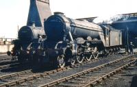 A sunny day at Eastfield on 23 May 1959. Locomotives on shed include Haymarket A3 Pacific no 60096 <I>Papyrus</I> standing alongside one of Eastfield's Standard class 5 4-6-0s no 73108. <br><br>[A Snapper (Courtesy Bruce McCartney)&nbsp;23/05/1959]