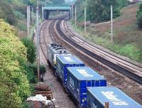 A cautious, slow line, approach to Preston for 92017 and the <I>Tesco Express</I> with a single yellow ahead at Skew Bridge Junction. <br><br>[Mark Bartlett&nbsp;30/09/2010]