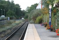 View from the end of the platform at Bishop Auckland terminus on 30 September 2010. The station is used by Northern DMUs on the route east to Darlington, Middlesbrough and Saltburn.  The line on the left is the former Wearhead branch where a regular train service has recently been introduced by the Weardale Railway between Bishop Auckland and Stanhope. The platform used by trains on the Weardale line can be seen in the centre of the photograph beyond the buffer stops and, while the route between the two platforms is currently rather circuitous, agreement has been reached on the establishment of a direct fenced pathway between the two - something which will no doubt be appreciated by all concerned.<br><br>[John Furnevel 30/09/2010]
