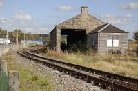 The old goods shed at Keith on 4 October 2010. View is east with the main station over to the left and the former Dufftown branch line in the foreground.<br> <br><br>[Bill Roberton&nbsp;04/10/2010]