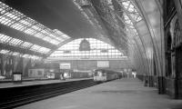 Nowadays a location more associated with major exhibitions, sporting events and party conferences. DMUs stand below the 210 feet single-span wrought iron arched roof of Manchester Central station in May 1969.<br><br>[K A Gray&nbsp;03/05/1969]