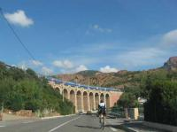 A TGV unit crosses the attractive Antheor viaduct on the line between Toulon & Cannes. On two occasions in late 1943 and again in early 1944 the viaduct attracted the attention of the Lancasters of 617(Dambusters) and 619 Squadrons in an attempt to sever the strategic route between southern France and Italy. Little damage was caused to the railway whilst one aircraft was lost and two airmen were killed by defending gunfire.<br><br>[Susan Chattwood&nbsp;24/09/2010]