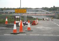 Confident-looking notice at the entrance road leading from the A89 to the under-construction Blackridge station (and footbridge) on 12 October 2010. [Addendum - the station opened on 12 December 2010].<br><br>[John Furnevel 12/10/2010]