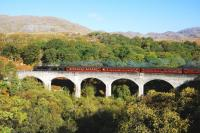 Black five no 44871 crossing Arnabol Viaduct near Loch nan�Umbh�with <I>The Jacobite</I> on its way to Mallaig on 12 October. Arnabol Viaduct is inland from the head of Loch Beag and about half a mile before its more famous neighbour.<br> <br><br>[John Gray&nbsp;12/10/2010]