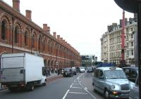 Looking north along Midland Road towards the St Pancras station 'tradesman's entrance' in September 2010.<br><br>[Veronica Clibbery&nbsp;16/09/2010]
