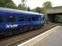 158871 stands at Bridge of Allan on 14 October sporting the latest gaelic addition <I>Reile na h-Alba</I>. <br> <br><br>[Brian Forbes 14/10/2010]