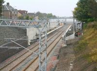 The original station at Caldercruix was closed in 1956. The well-advanced replacement, on the same site, is seen here taking shape 54 years later. View east towards Bathgate on 12 October 2010.  <br><br>[John Furnevel&nbsp;12/10/2010]