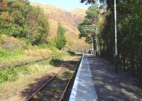 View along the platform at Lochailort station in October 2010. The station once had two platforms and a passing loop, but has now been reduced to a single platform with a basic shelter.<br> <br><br>[John Gray&nbsp;/10/2010]