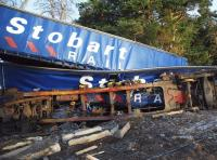 Wrecked Stobart Rail containers, photographed following the Carrbridge derailment in January 2010.<br><br>[John Gray /01/2010]