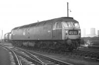 Class 47 no 1640 stands on Polmadie shed on 14 February 1970. The locomotive was allocated to Old Oak Common at the time and had worked in on car train 4S35, the 15.58 MXQ from Morris Cowley to Linwood.<br> <br><br>[Bill Jamieson&nbsp;14/02/1970]