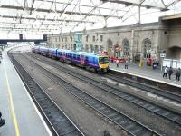 A First TransPennine service from Manchester Airport forming the 15.47 to Glasgow Central arrives at Carlisle platform 3 on 18 October 2010.<br><br>[Ken Browne&nbsp;18/10/2010]