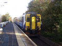 The 10.13 to Kilmarnock stands at Kilmaurs on 16 October 2010.<br><br>[Ken Browne&nbsp;16/10/2010]