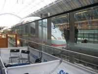 Deutsche Bahn (DB) ICE unit on display at London St Pancras International on 19 October. The train was visiting London as part of an initiative by DB which may see the German rail firm running ICE services from London St Pancras to Germany from 2013. <br><br>[Michael Gibb&nbsp;19/10/2010]