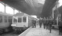 The DMU forming the LCGB (North West Branch) <I>Manchester Terminals Farewell Railtour</I> stands at Buxton terminus on 23 May 1969. [See image 31150] <br><br>[K A Gray&nbsp;23/05/1969]