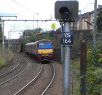 320 310 approaches Sunnyside from Airdrie with a Balloch service on <br> 16 October.� Facing the other way is a mysterious 'no aspect' signal.�I'm guessing the short stretch of the Down Line from Sunnyside Junction [see image 13234] is no longer bidirectional to this point, after the severing of the junction for the Gunnie branch, and that this fixed danger signal is now redundant.� Either that or the bulb has gone.<br> <br><br>[David Panton 16/10/2010]