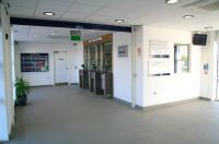 Booking hall and transit area at the new Bathgate station on 20 October, the doors to the platform are on the right and the waiting area behind the camera.<br><br>[John Furnevel&nbsp;20/10/2010]