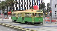 The iconic 'W' Class tram which is an emblem of Melbourne, in the Docklands area on 14 October 2010. Sadly these vehicles are under threat of withdrawal because they have steps.<br><br>[Colin Miller&nbsp;14/10/2010]