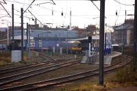 A view of King's Lynn station from the East Yard sidings on 24 February 2010 with a service for London Kings Cross standing at platform 1.<br><br>[Ian Dinmore&nbsp;24/02/2010]