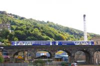 A service for Rochdale passes over Beacon Hill Viaduct, just to the north of Halifax station, on 28 September 2009.<br><br>[Ian Dinmore&nbsp;28/09/2009]