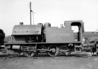 Kitson 0F 0-6-0ST no 47008, one of a batch of 5 built at Horwich Works in 1953 based on an original 1932 design [see Image 31728] but with shorter saddle tank and extended coal bunker. The locomotive was photographed at 24C Lostock Hall Shed on 7 April 1963.<br><br>[David Pesterfield&nbsp;07/04/1963]