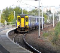 The most unusual sight of a DMU on the Argyle Line, though it only <br> travelled on it the few hundred yards between Strathclyde Junction (not nearly as important as it sounds) and Rutherglen Central Junction.� 156 510 pulls into Rutherglen ECS to form a service to Whifflet during engineering work diversions on Saturday 16 October.<br> <br><br>[David Panton&nbsp;16/10/2010]