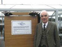 David Martin with the commemorative plaque at Muir of Ord on 16 June 2012 [see news item]<br><br>[John Yellowlees&nbsp;16/06/2012]