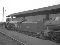 A2 Pacific no 60511 <I>Airborne</I> stands alongside the coaling stage at Heaton shed around 1960.<br><br>[K A Gray&nbsp;//1960]