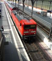 DB 112-153 from Hamburg approaching Lubeck's platform 7 on the late morning of 26 July 2010.<br><br>[John Steven&nbsp;26/07/2010]