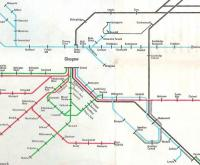 Extract from the BR Passenger Network Map for 1978 showing the <br> Glasgow area.� The Argyle Line wasn't to open until the following year and it's odd to think of a time when the North Clyde lines had no connection with the south.� Note the Bridgeton branch:� Bridgeton then meant the old Bridgeton Central whereas the 1979 Bridgeton was formerly Bridgeton Cross.� Springburn is portrayed as a terminus, which in terms of passenger services it was.� Odd that the line from there to Cumbernauld is shown with some geographic fidelity for a diagram, whereas Wishaw's position has been misleadingly simplified.<br> <br><br>[David Panton&nbsp;//1978]