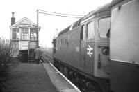 D5331 with the final Moray Coast train from Elgin to Aberdeen waits to cross its westbound equivalent at Tillynaught Jct on 4 May 1968.<br><br>[David Spaven&nbsp;04/05/1968]